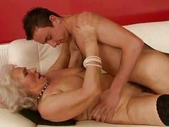 Sticky busty grandma fucking a boy