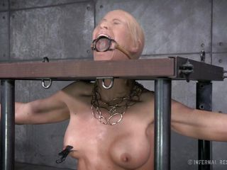 nipples clamped in the stocks