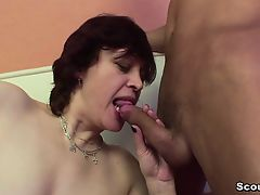 Mama seduce german ally of her son to fuck her cunt