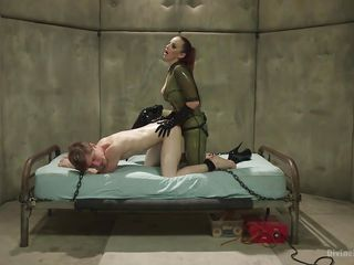 fixed firmly up slave gets jacked off with a latex glove