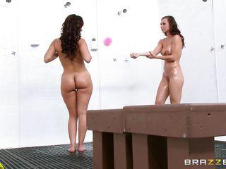 sexy lesbian hotties enjoy dirty in the washroom