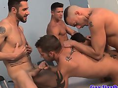 Bukkake stud anally interrogated by muscle jocks