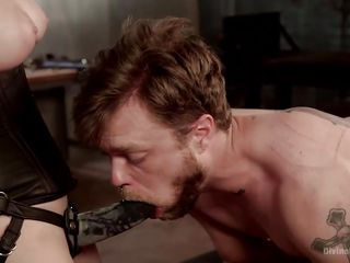 pansy slave has to suck her strap on