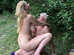 Natural weighty titted slut fucks grandpa in the woods