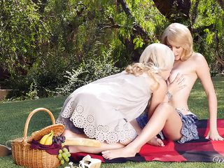 golden-haired chick seduces redhead although picnic