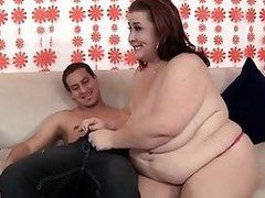 Mature BBW Lady Lynn makes love a young boy so silly