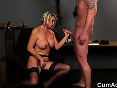 Flirty model gets jizz ejected on her face gulping all the crea