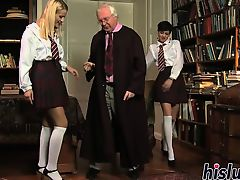 Melodious male bangs two horny schoolgirls