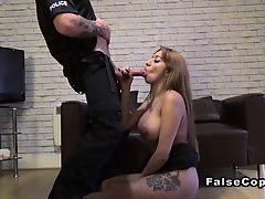 Fake cop bangs severe tits cheating wife