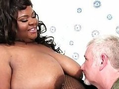Thick black girl Alena Lust takes thick white cock
