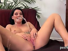 Breathtaking hotty is peeing and rubbing smooth on top slit94bAA