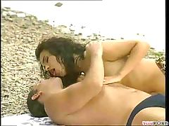 Brunette Gets Nailed On The Beach