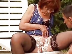 Hot dude helps this granny shave her hairy hole