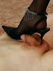 Humble motherfucker licks the soles of his mistress?s shoes clean before switching on to her bare feet
