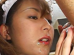 Asian housewife slave pleases her boss