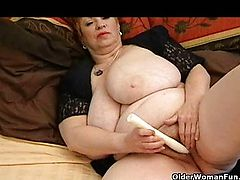 Extra-weighed granny with huge tits