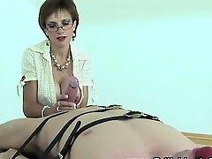 Lady Sonia femdom handjob ejaculation
