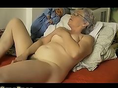Old chubby Ripened masturbate herself with a toy