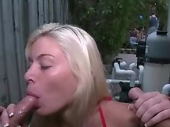 Slutty Blonde Exgf Sucks 2 Rods at the All together